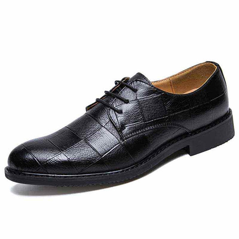 Black check block leather derby dress shoe 01