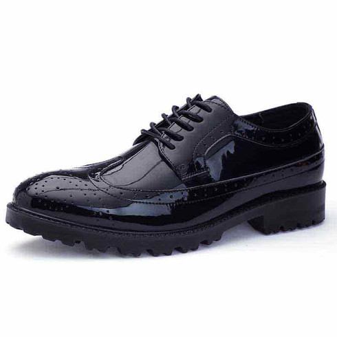 Black longwing brogue leather derby dress shoe 01