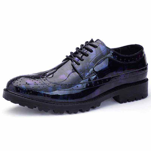 Blue longwing brogue leather derby dress shoe 01