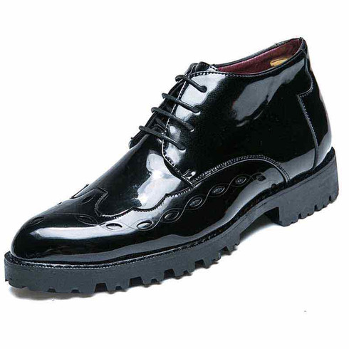 Black brogue patent leather derby dress shoe boot 01
