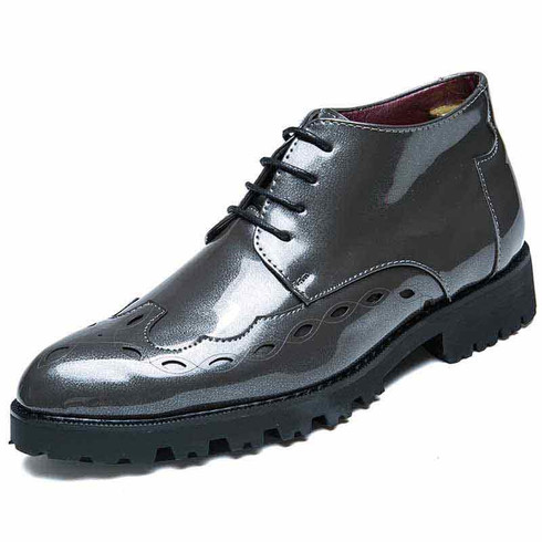 Silver brogue patent leather derby dress shoe boot 01
