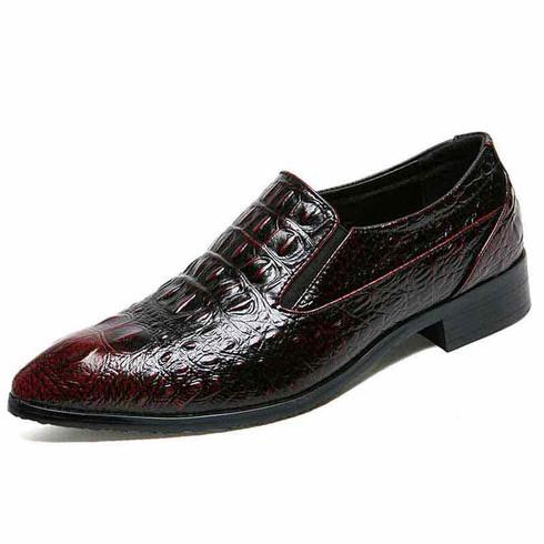 Red crocodile skin pattern slip on dress shoe 01