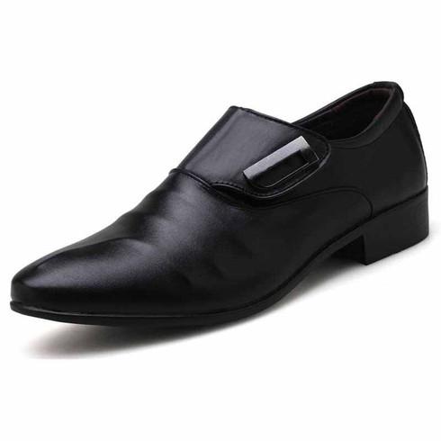 Black pleated velcro buckle slip on dress shoe 01
