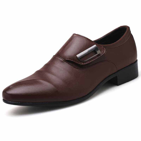 Brown pleated velcro buckle slip on dress shoe 01