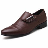 Brown pleated velcro buckle slip on dress shoe 01