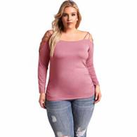 Purple plain cross strap sleeve plus size t-shirt 01