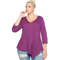 Purple V neck asymmetric plus size flounce t-shirt 01