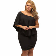 Black multi layer off shoulder plus size mini dress 01