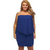 Blue multi layer off shoulder plus size mini dress 01
