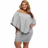 Grey multi layer off shoulder plus size mini dress 01
