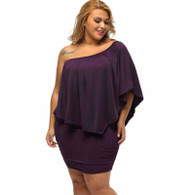 Purple multi layer off shoulder plus size mini dress 01