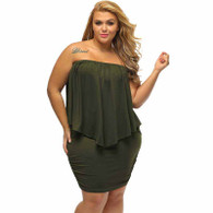 Green multi layer off shoulder plus size mini dress 01