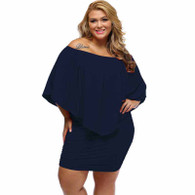 Navy multi layer off shoulder plus size mini dress 01