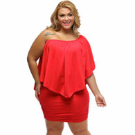 Rose red multi layer off shoulder plus size mini dress 01