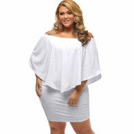 White multi layer off shoulder plus size mini dress 01