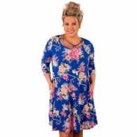 Blue crisscross Neck floral print plus size midi dress 01
