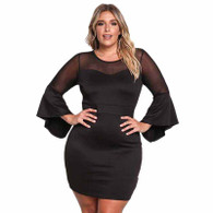 Black bell sleeve mesh trim plus size mini dress 01