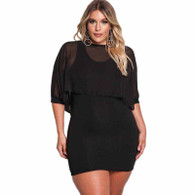 Black chiffon layered plus size mini dress 01