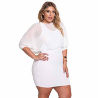 White chiffon layered plus size mini dress 01