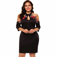 Black floral pattern hollow cut plus size mini dress 01