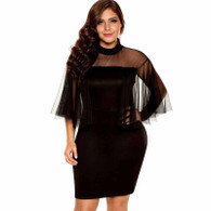 Black semi sheer tulle sleeve plus size mini dress 01