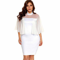 White semi sheer tulle sleeve plus size mini dress 01