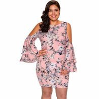 Pink floral print shoulder cut out plus size mini dress 01