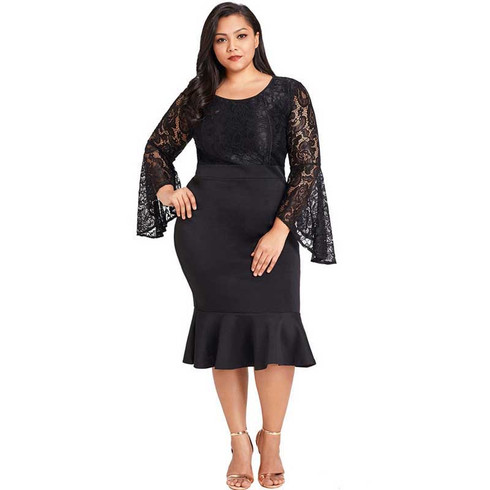Black lace bell sleeve plus size midi dress in plain 01