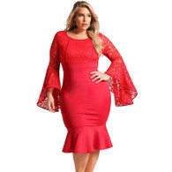 Red lace bell sleeve plus size midi dress in plain 01