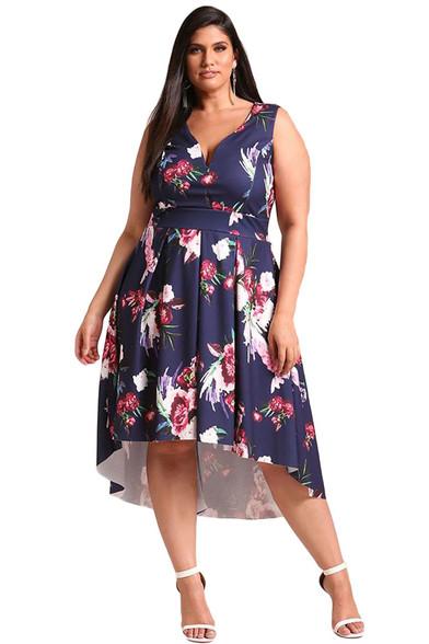 Navy floral print V neck Hi-Lo plus size midi dress 01