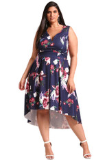 Navy floral print V neck Hi-Lo plus size midi dress 01