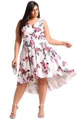 White floral print V neck Hi-Lo plus size midi dress 01