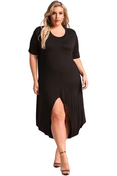 Black Hi-Lo front slit jersey plus size maxi dress 01