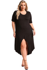 Black Hi-Lo front slit jersey plus size maxi dress 01
