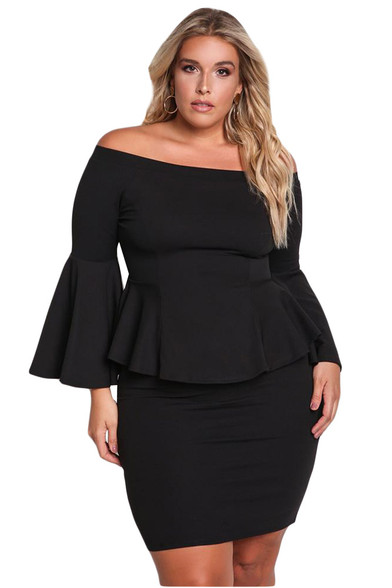 Black off the shoulder bell plus size mini peplum dress 01