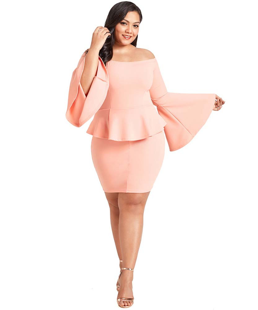 Pink Off The Shoulder Bell Sleeve Plus Size Mini Peplum Dress