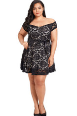 Black off the shoulder floral lace plus size mini dress 01