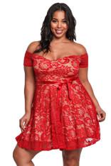 Red off the shoulder floral lace plus size mini dress 01