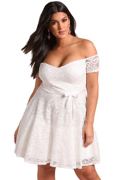 White off the shoulder floral lace plus size mini dress 01