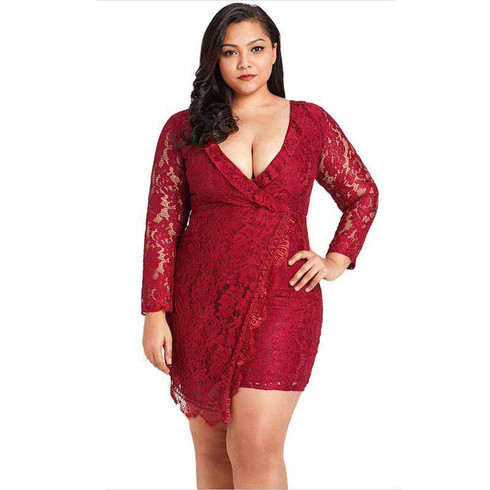 Red floral lace plus size mini wrap style dress 02