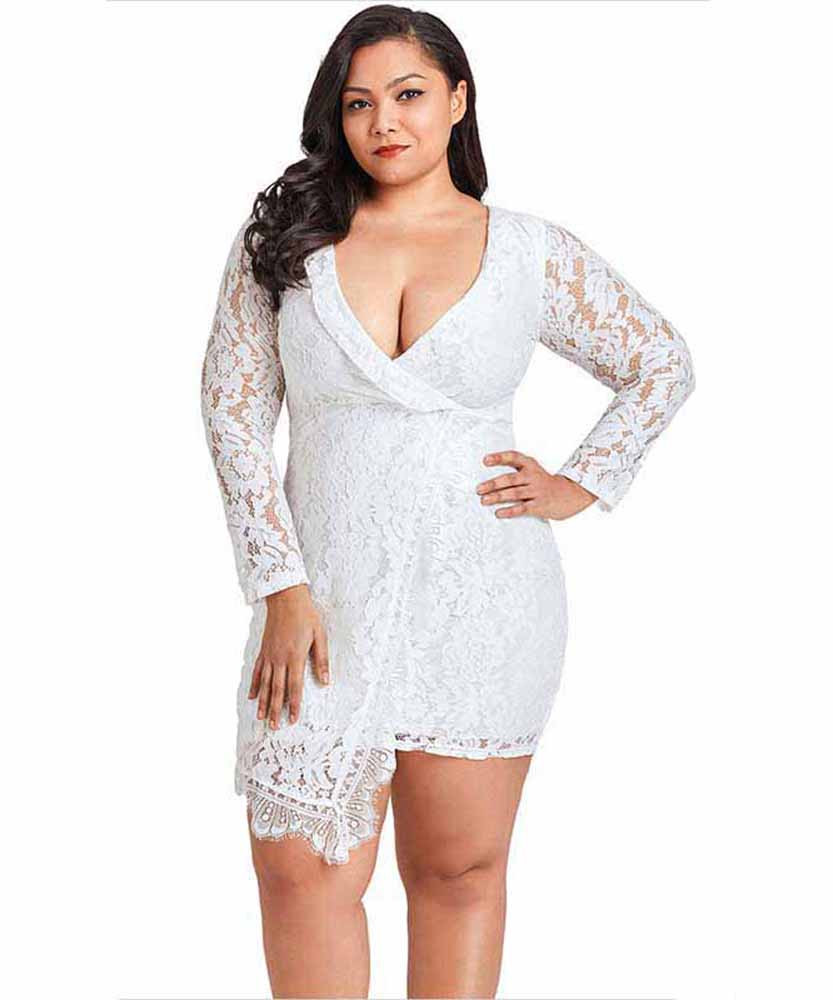 bb668fc2e51 White floral lace plus size mini wrap style dress 01