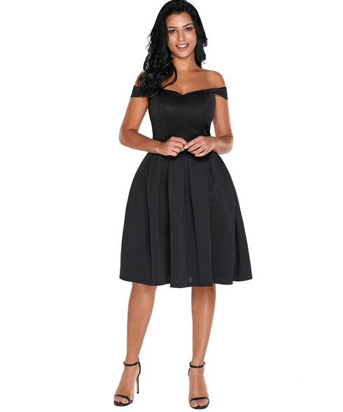 Black foldover off shoulder ruffle hem mini dress 01