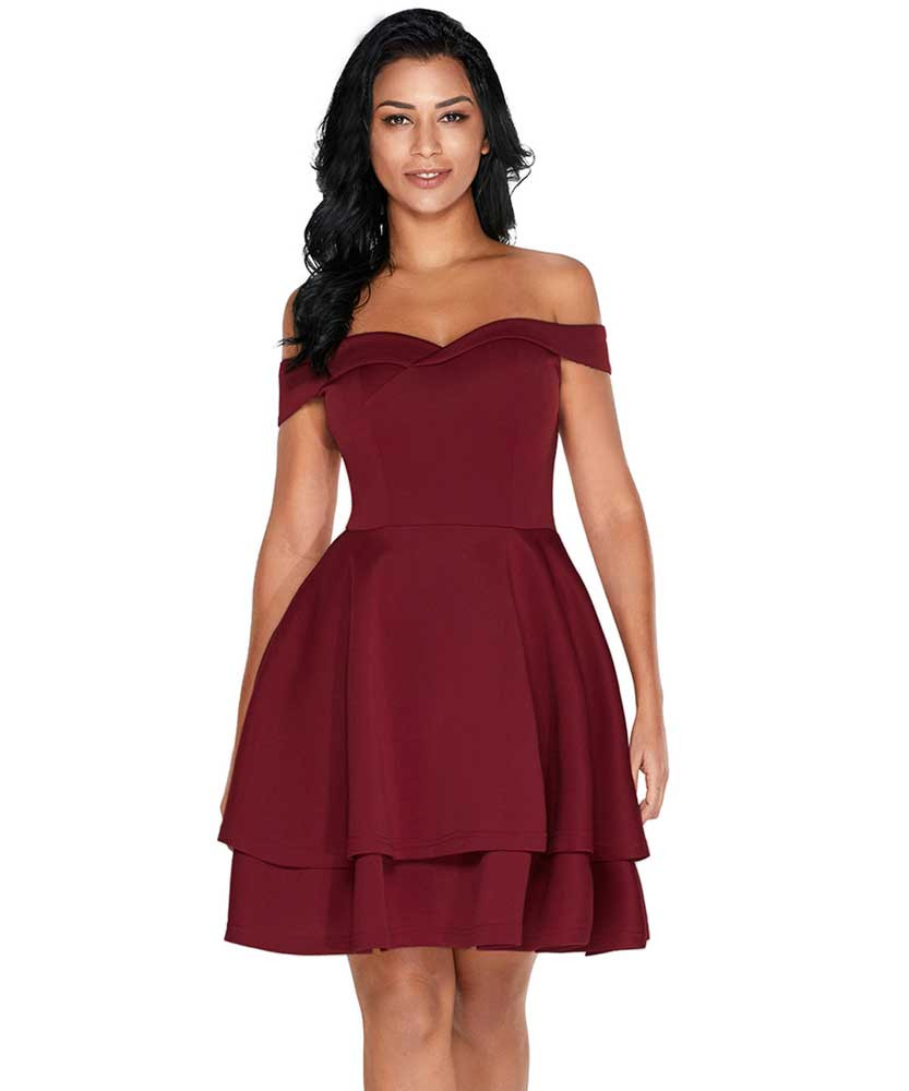 73bcb559b4c3 Red off shoulder layered ruffle hem mini dress 01