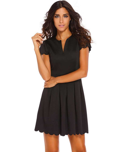 Black V neck pleated short sleeve mini dress 01