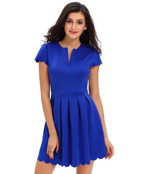 Blue V neck pleated short sleeve mini dress 01