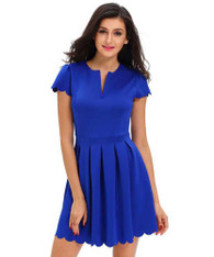 Blue V neck pleated short sleeve mini dress 01