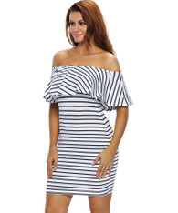 White black stripe off the shoulder bodycon mini dress 01
