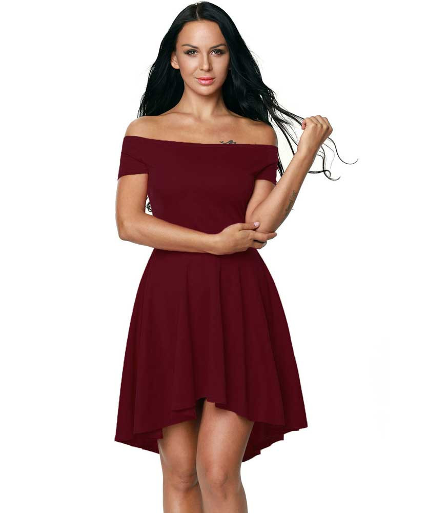 be97a3dbba3e Wine red short front long back off the shoulder mini dress 01