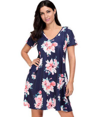 Navy V neck floral print short sleeve mini dress 01