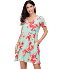 Red V neck floral print short sleeve mini dress 01
